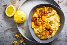 Lemon risotto with caramelized cherry tomatoes