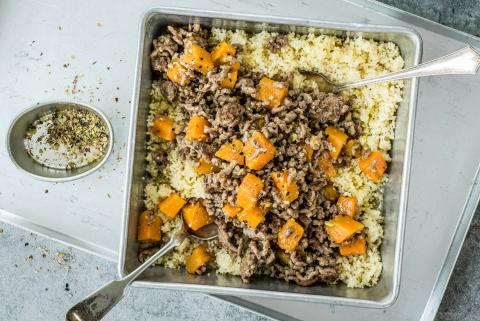 Couscous with mince and squash ragout