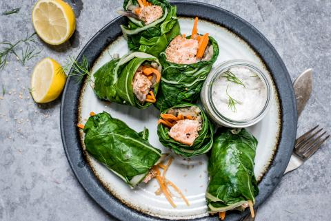 Swiss chard & salmon parcels