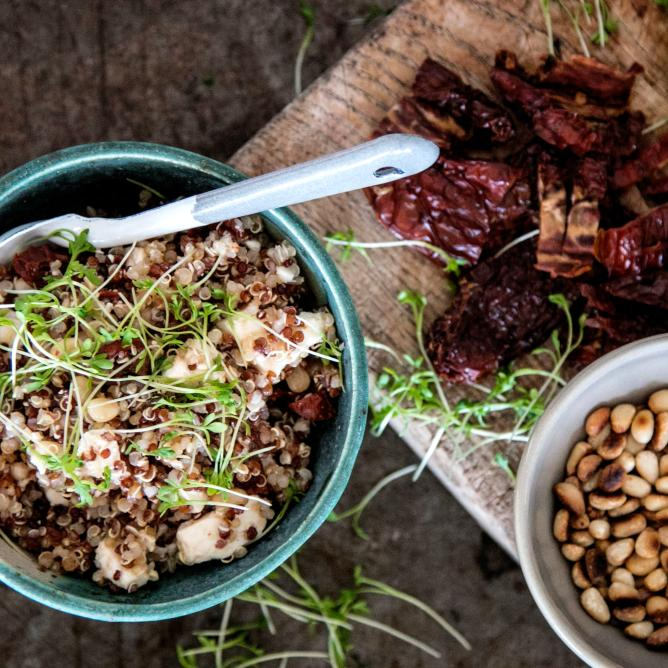 Quinoa salad with sun-dried tomatoes and pine nuts