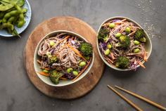 Rainbow noodle salad with peanut sauce