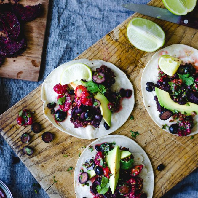 Tacos with berry salsa, beetroot and tofu