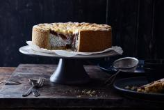 Plum & poppy seed quark cake