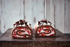 Strawberry and chocolate roulade