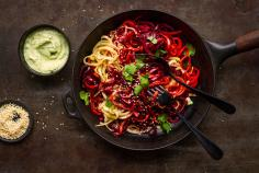 Vegetable Spaghetti with Herb Yogurt Sauce