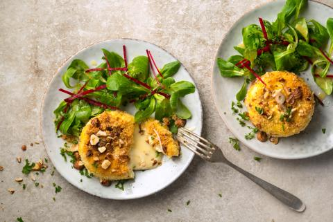 Crumbed cheese with mixed salad