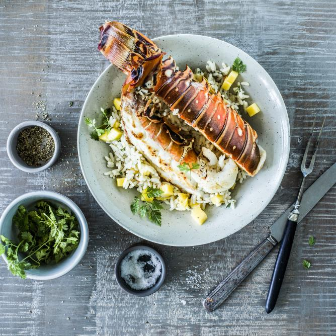 Spiny lobster tail with coconut & mango pilaf