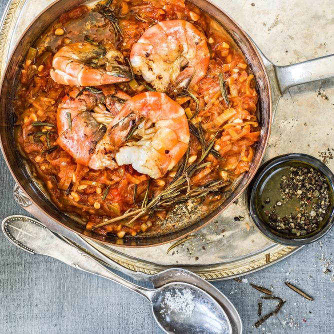 Freshwater prawns with winter salsa