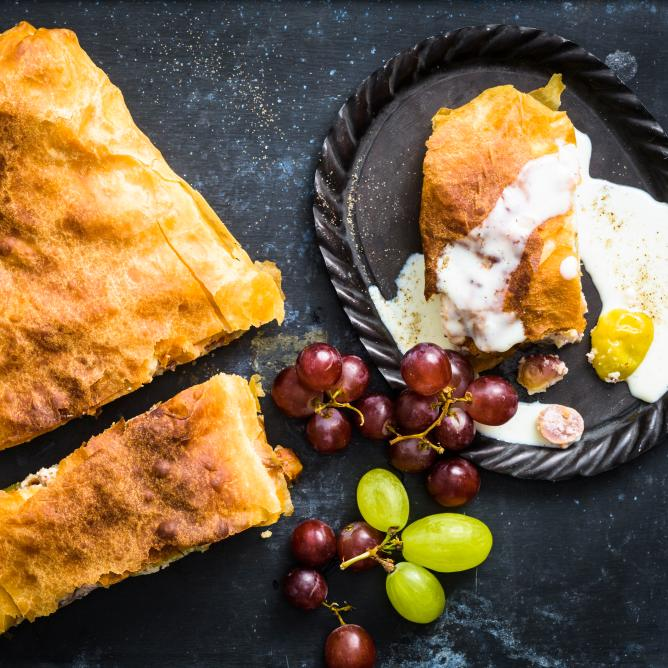 Grape strudel with vanilla custard