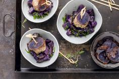 Purple potato salad with meatballs