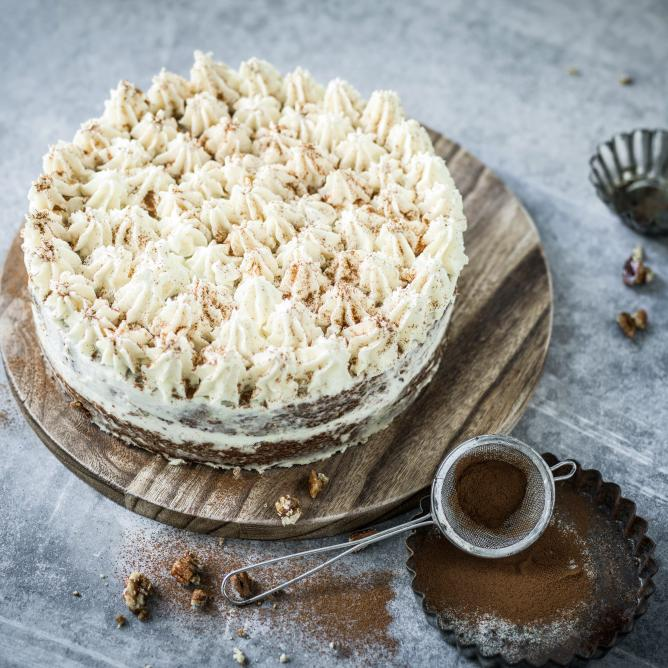 Christmas carrot cake with ginger frosting