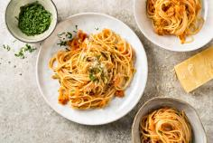 Spaghetti with carrot sugo