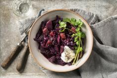 Exotic red cabbage with sausage