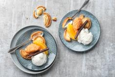 Sweet puff pastry slices with carrot salad and coconut ice cream