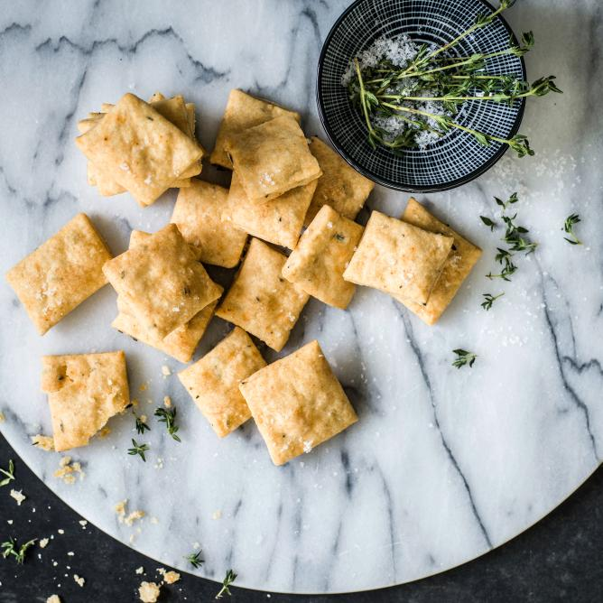 Gruyère and herb crackers