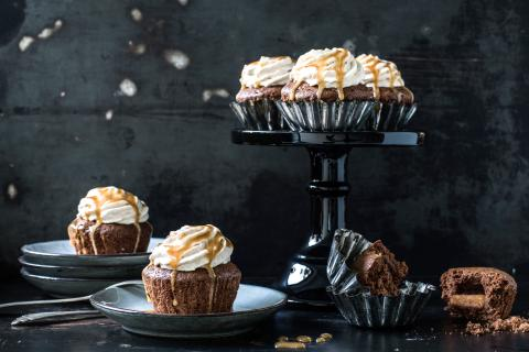Caramel and chocolate cupcake