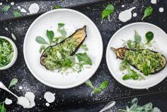 Baked aubergine with broccoli & kohlrabi rice