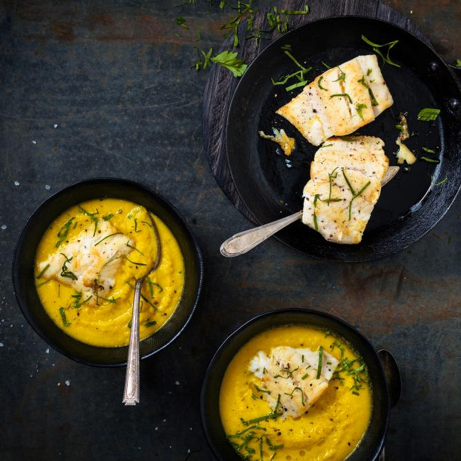 Carrot soup with pike perch