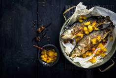 Spiced sea bass with orange salsa