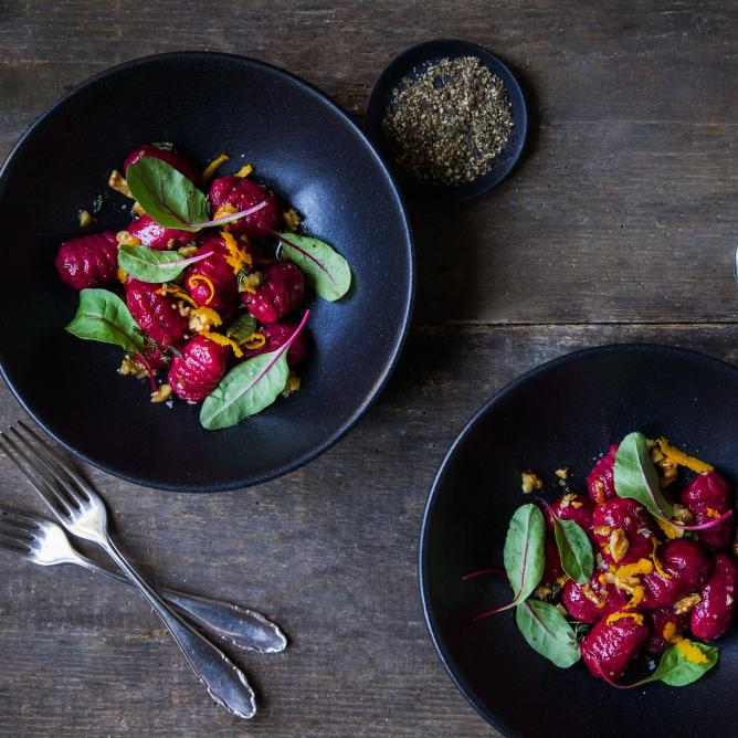Beetroot gnocchi with an orange and walnut butter