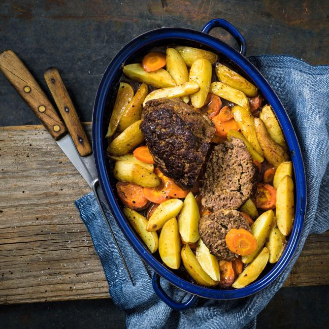Beef meatloaf with roast potatoes and carrots