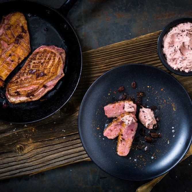 Duck breast with red wine butter
