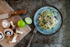 Mushroom linguine with coconut and lime sauce