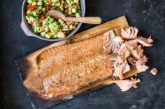 Hot smoked salmon with chilli salsa