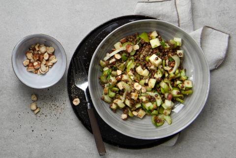Celeriac and lentil salad