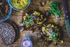 Mushroom and scrambled tofu open sandwich