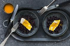 Poached cod with saffron and champagne sauce