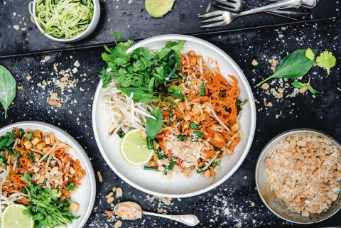 Carrot-noodle and peanut Pad Thai