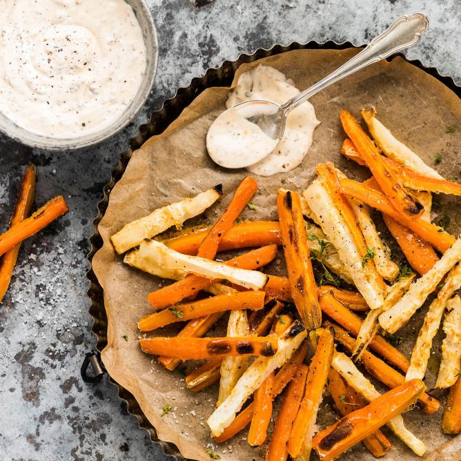 Carrot and celeriac fries