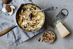 Porcini mushroom risotto with toasted hazelnuts