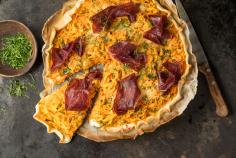 Graubünden air-dried meat and carrot tart