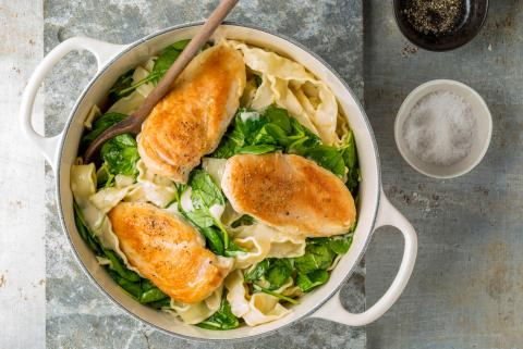 Chicken breasts with pasta in a creamy lemon sauce