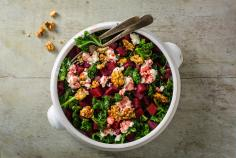 Kale and beetroot salad with feta and walnuts