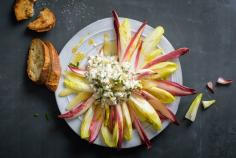 Winter salad with cottage cheese and pears