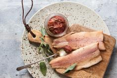 Smoked trout with rhubarb chutney