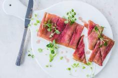 Rhubarb tarte tatin with micro greens