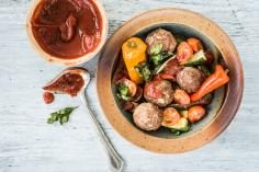 Meatballs with roasted vegetables