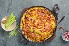 Leek gratin with ham and Gruyère cheese