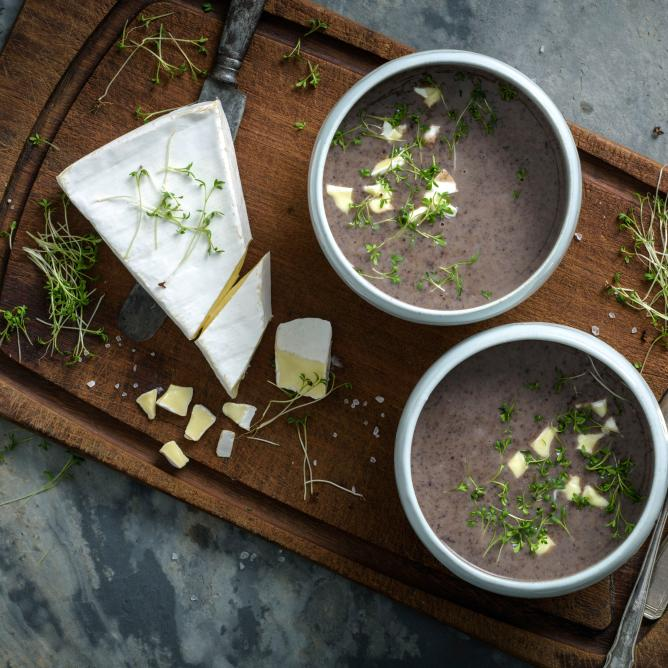 Black bean soup with brie