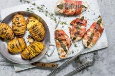 Chicken saltimbocca with hasselback potatoes