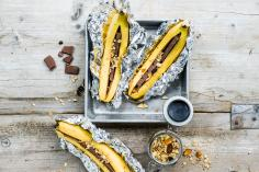 Chocolate baked bananas with sweet potato granola
