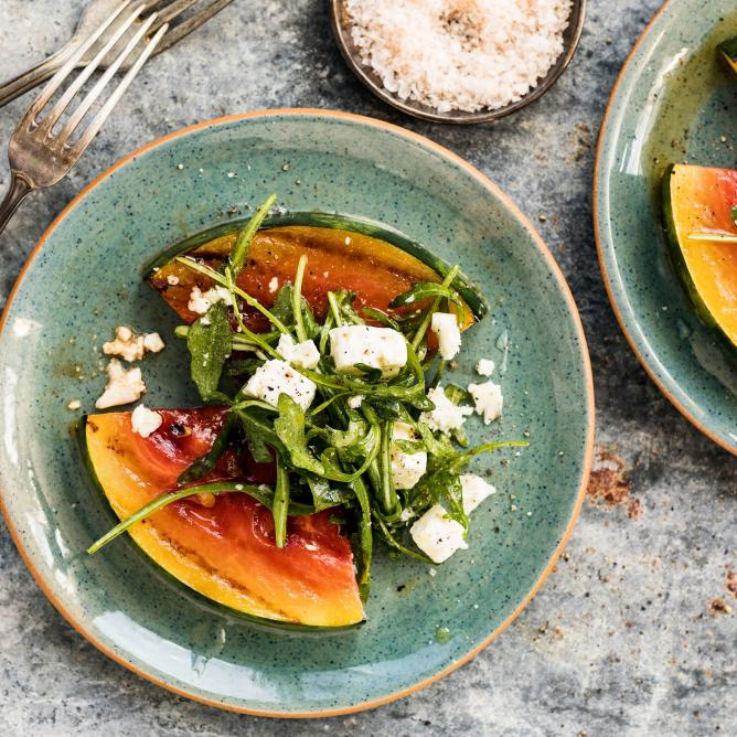 Grilled watermelon with feta salad