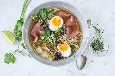 Pho Bo (beef and noodle soup) with micro greens