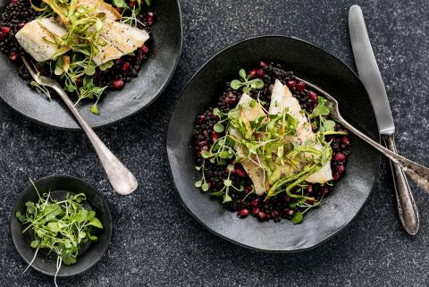 Sea Bass Fillet With Beluga Lentil Salad Recipes Fooby Ch