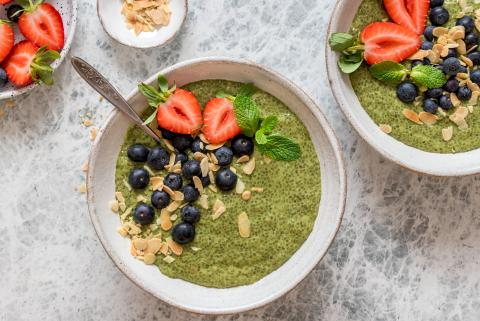 Matcha pudding with chia seeds