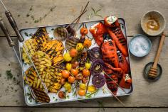 Colourful grilled vegetables